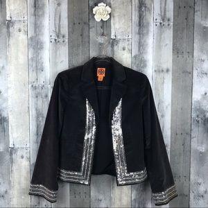 Tory Burch Grey Velvet Embellished Blazer Sz 2 EUC